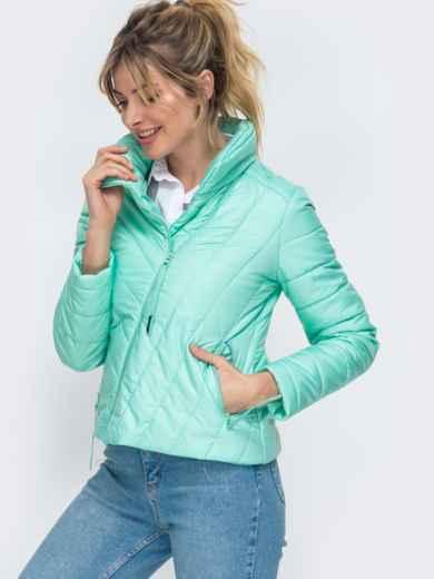 Демисезонная куртка бирюзового цвета с косым замком 45415, фото 2