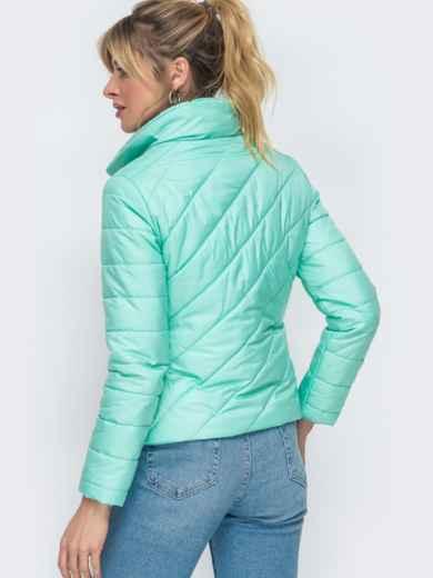 Демисезонная куртка бирюзового цвета с косым замком 45415, фото 3