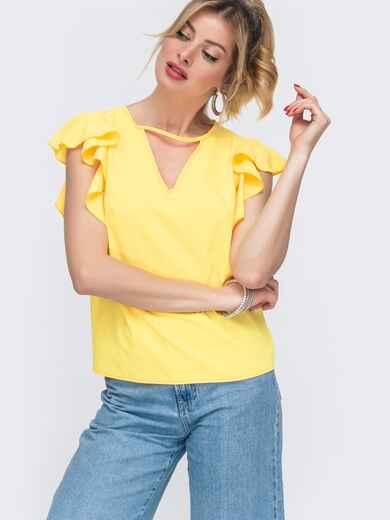 """Жёлтая блузка свободного кроя с рукавом """"крылышко"""" 48416, фото 1"""