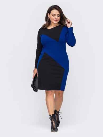 Черное платье батал со вставкой синего цвета 51457, фото 1