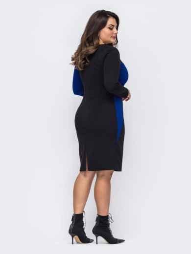 Черное платье батал со вставкой синего цвета 51457, фото 2