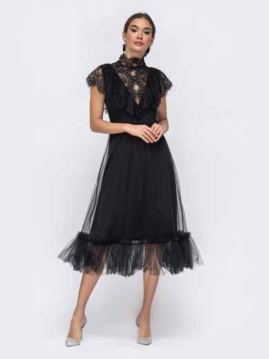 Чёрное платье с гипюровой кокеткой и воланом по низу 43016, фото 1