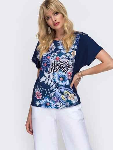 Комбинированная блузка свободного кроя с принтом тёмно-синяя 49132, фото 1