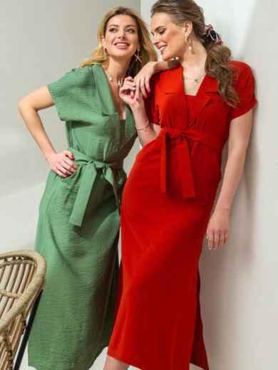 Льняное платье-макси с лацканами красное 46869, фото 1