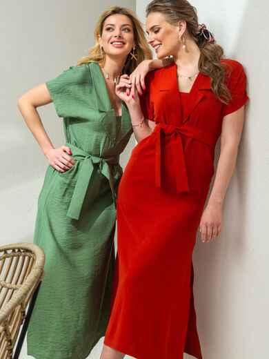 Льняное платье-макси с лацканами терракотовое 46869, фото 1