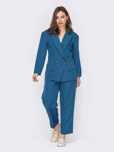 Синий костюм с двубортным жакетом и брюками на молнии 53534, фото 1