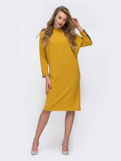 """Желтое платье с рукавам """"летучая мышь"""" и лампасами из пайеток 42721, фото 1"""