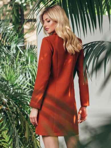 Двубортное платье-пиджак терракотового цвета 45560, фото 2