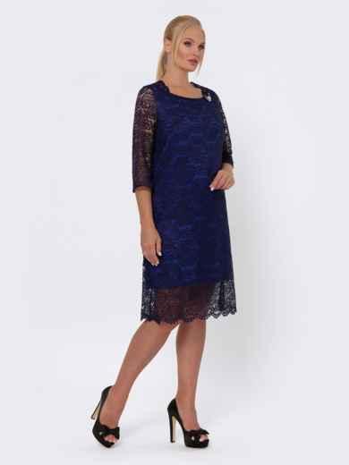 Платье-миди из кружева с рукавом 3/4 тёмно-синее 42701, фото 2