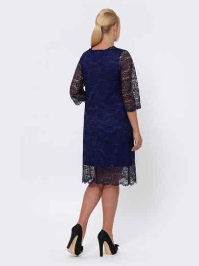 Платье-миди из кружева с рукавом 3/4 тёмно-синее 42701, фото 3
