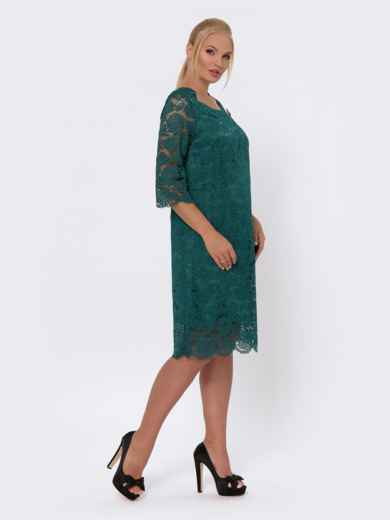 Платье-миди из кружева с рукавом 3/4 зелёное 42705, фото 2