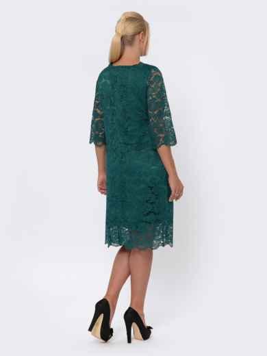 Платье-миди из кружева с рукавом 3/4 зелёное 42705, фото 3
