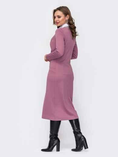Платье приталенного кроя с треугольным вырезом розовое 52099, фото 3