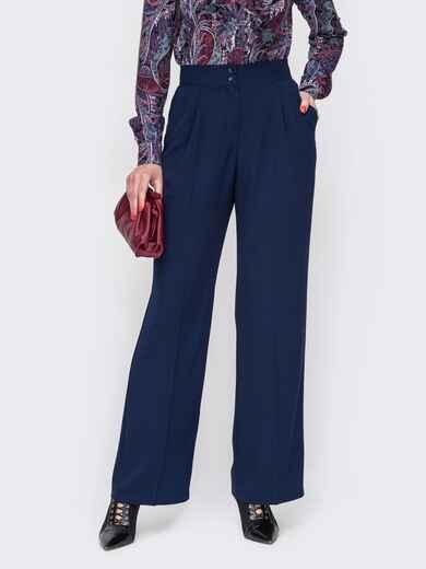 Темно-синие брюки с высокой посадкой и отглаженными стрелками 52097, фото 1