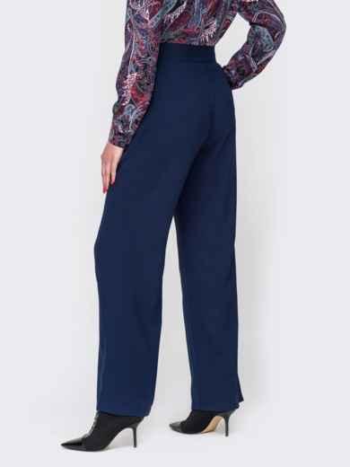 Темно-синие брюки с высокой посадкой и отглаженными стрелками 52097, фото 2
