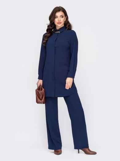 Темно-синие брюки с высокой посадкой и отглаженными стрелками 52097, фото 3