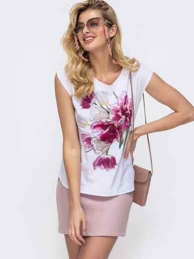 Белая блузка прямого кроя с принтом на полочке 45438, фото 1