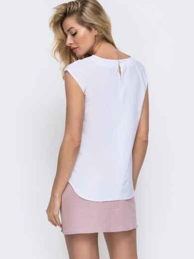 Белая блузка прямого кроя с принтом на полочке 45438, фото 3