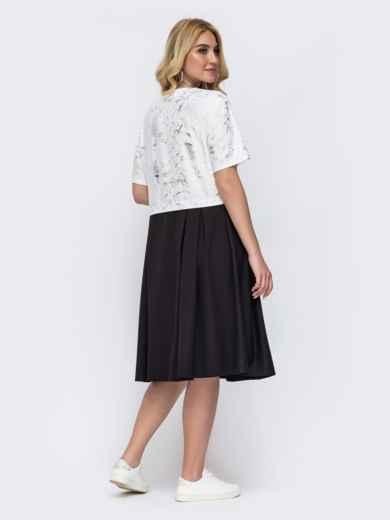 Белое платье большого размера с принтом и расклешенной юбкой 49222, фото 2