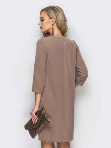 Платье свободного кроя со складкой бежевое 11105, фото 2