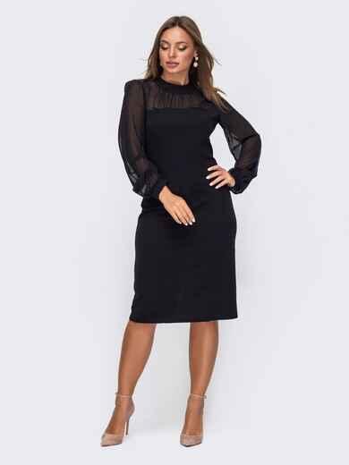 Приталенное платье с фатиновыми рукавами чёрное 50802, фото 1