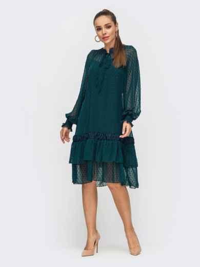 Зеленое платье из шифона с воланом по низу 50801, фото 2