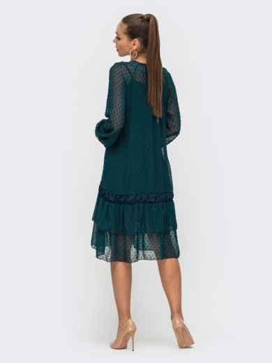 Зеленое платье из шифона с воланом по низу 50801, фото 3