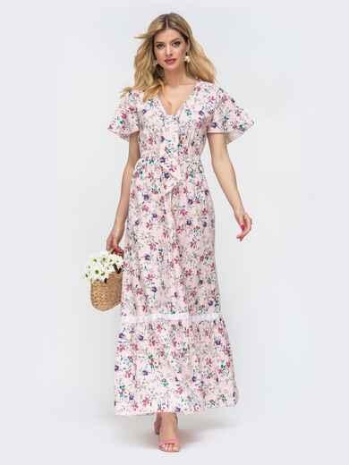"""Платье-макси с принтом и рукавом """"крылышко"""" пудровое 46771, фото 1"""