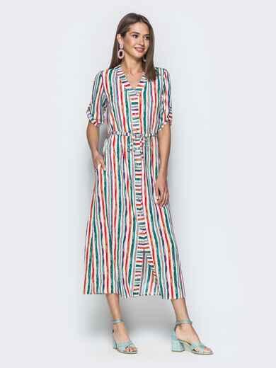 Платье-макси в полоску с кулиской по талии 39111, фото 1