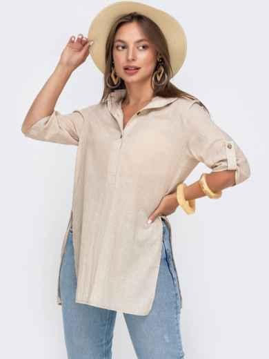 Свободная блузка из хлопка с разрезами по бокам бежевая 49117, фото 2