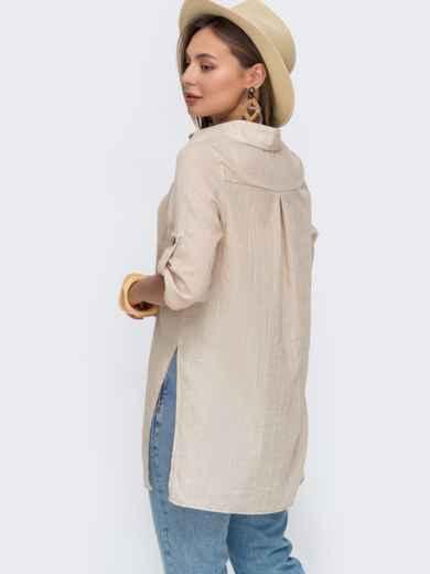 Свободная блузка из хлопка с разрезами по бокам бежевая 49117, фото 3