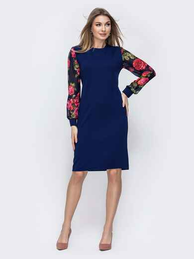 Тёмно-синее платье с принтом на рукавах 45779, фото 1
