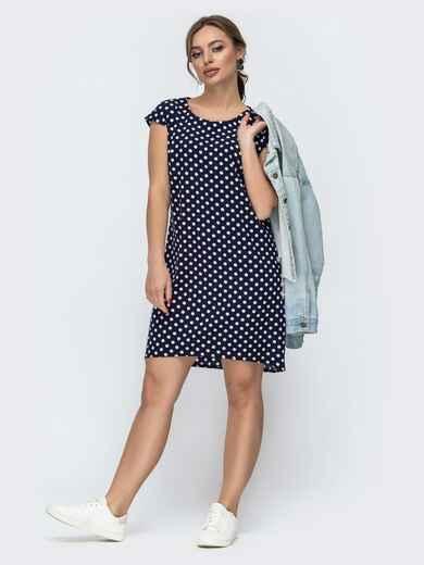 Темно-синее платье свободного кроя в горошек 46943, фото 1