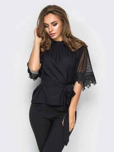 Креп-шифоновая блузка с поясом в комплекте черная 10081, фото 1