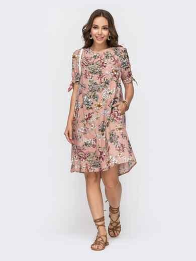 Пудровое платье А-силуэта с принтом и коротким рукавом 49145, фото 1
