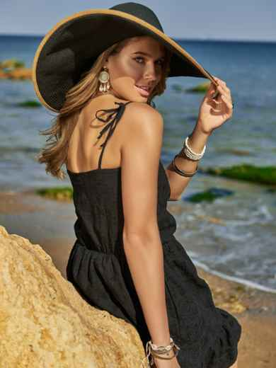 Чёрный сарафан из прошвы с резинкой по талии 48201, фото 3