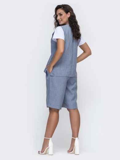 Комплект-двойка большого размера из жилета и шорт синий 49972, фото 2