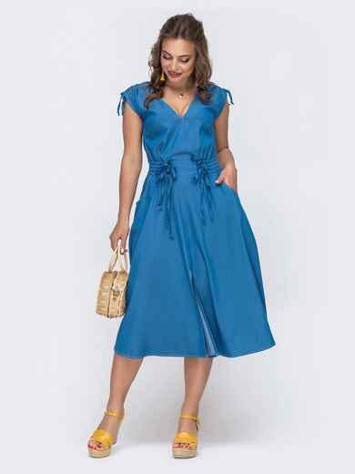 Платье из джинса с вафельной резинкой по талии синее 48068, фото 1