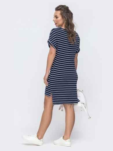 Платье в тёмно-синюю полоску с удлиненной спинкой 46728, фото 2