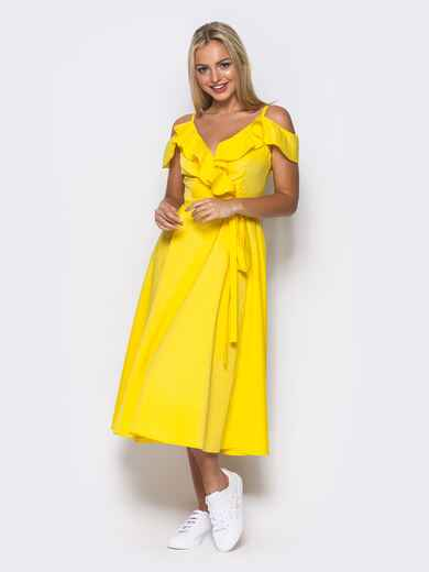 Желтое платье на запах на тонких бретелях 10818, фото 1
