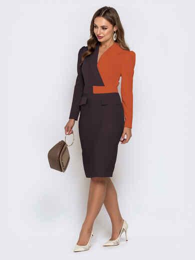 Обтягивающее платье-миди оранжевого цвета 42304, фото 1