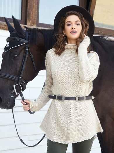 Удлиненный свитер с воротником-хомут бежевый 41053, фото 1