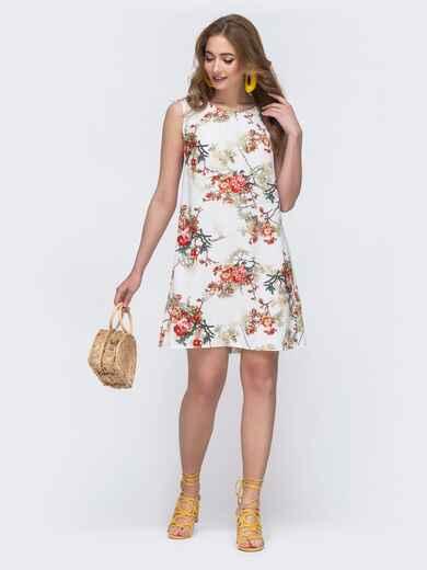 Белое платье-трапеция с цветочным принтом  - 48250, фото 1 – интернет-магазин Dressa