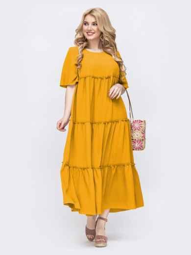 Свободное платье батал в пол желтого цвета 49691, фото 2