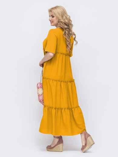 Свободное платье батал в пол желтого цвета 49691, фото 3