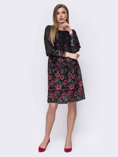Свободное платье из шифона с принтом чёрное 45783, фото 1