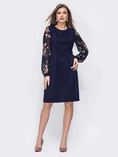 Тёмно-синее платье свободного кроя с принтованными рукавами 45782, фото 1