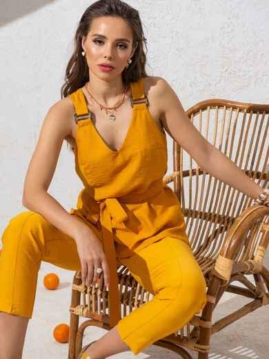 Блузка прямого кроя с V-вырезом и разрезами по бокам желтая 49127, фото 1