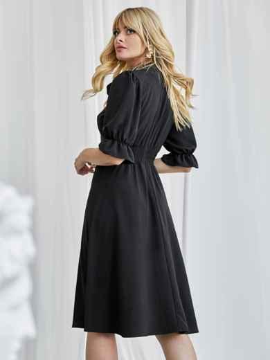 Чёрное платье с воротником-аскот и рукавом-фонарик 50082, фото 3