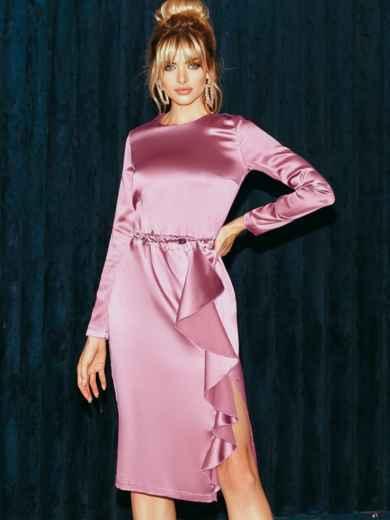 Приталенное платье из атласа с оборкой на юбке розовое 51958, фото 4